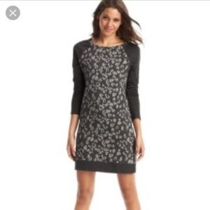 Loft animal print charcoal gray sweater dress Med